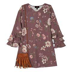 Girls 7-16 IZ Amy Byer Floral Knit Swing Dress with Purse