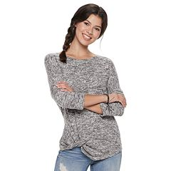 Juniors' Miss Chievous Cozy Twist-Front Top