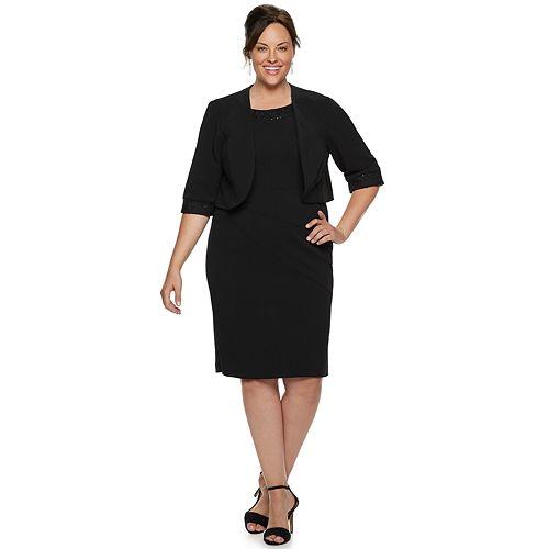 Plus Size Maya Brooke Lace Trim Dress & Jacket Set