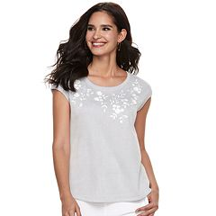 Women's ELLE™ Embroidered Floral Striped Tee