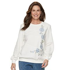 Petite Alfred Dunner Studio Embroidered Flower Fleece Sweatshirt