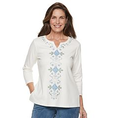 Petite Alfred Dunner Studio Scroll Embroidered Top