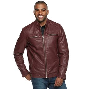Men's XRAY Slim-Fit Faux-Leather Moto Jacket