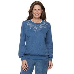 Petite Alfred Dunner Studio Spliced Floral Embroidered Sweatshirt