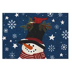 St. Nicholas Square® Blue Snowman Christmas Accent Rug - 20'' x 30''