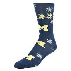 Men's Mojo Michigan Wolverines Santa's on His Way Crew Socks