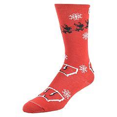 Men's Mojo Wisconsin Badgers Santa's on His Way Crew Socks