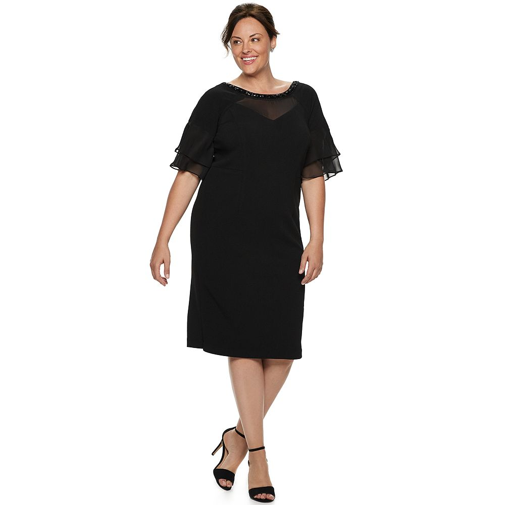 Plus Size Maya Brooke Chiffon Beaded Dress