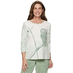 Petite Alfred Dunner Studio Owl Graphic Tee