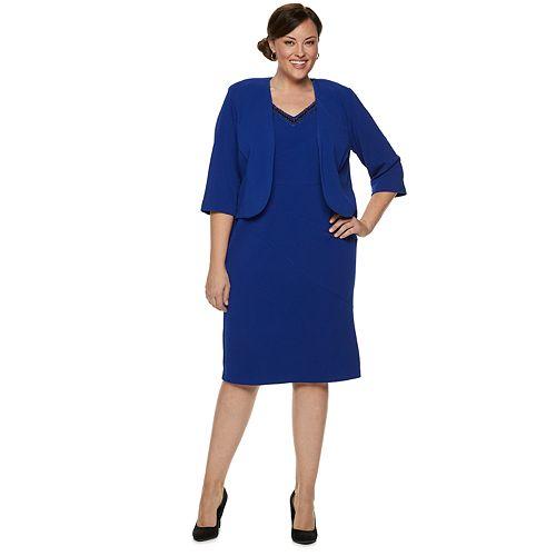 Plus Size Maya Brooke Lace Beaded Jacket Dress