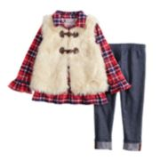 Baby Girl Little Lass Plaid Sequin Henley, Faux-Fur Vest & Jeggings Set