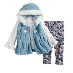 Baby Girl Little Lass Ruffled Tee, Hooded Plush Vest & Floral Leggings Set