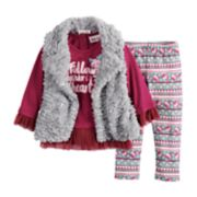 Baby Girl Little Lass Faux-Fur Vest, Peplum Top and Floral Leggings Set