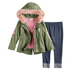 Baby Girl Little Lass 'Awesome' Graphic Tee, Faux-Fur Twill Jacket & Cuffed Jeggings Set