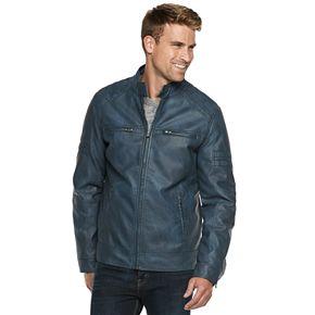 Men's XRAY Slim-Fit Washed Faux-Leather Moto Jacket