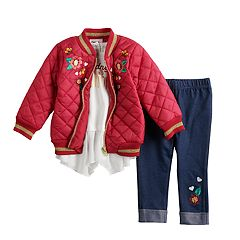 Baby Girl Little Lass Quilted Bomber Jacket, Ruffled Top & Embroidered Jeggings Set