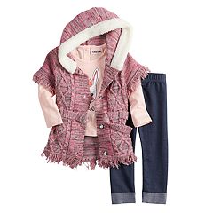 Baby Girl Little Lass Cable-Knit Hooded Sweater, 'Little Princess' Tee & Cuffed Jeggings Set
