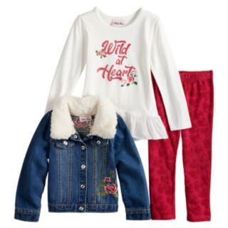 """Baby Girl Little Lass """"Wild At Heart"""" Peplum Tee, Jean Jacket & Velvet Leggings Set"""
