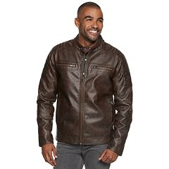 Men's XRAY Slim-Fit Washed Faux-Leather Moto Jacket