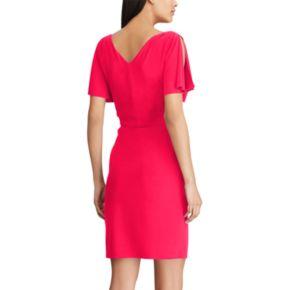Women's Chaps Pleated Faux-Wrap Dress