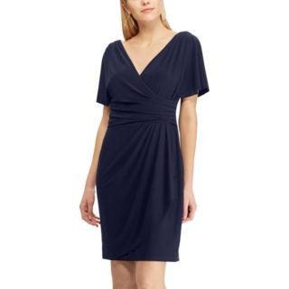 Women's Chaps Pleated Faux-Wrap Dress