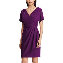 Petite Chaps Surplice Faux-Wrap Dress