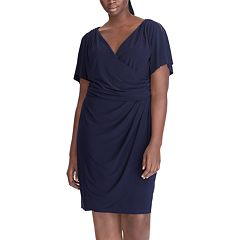 Plus Size Chaps Surplice Faux-Wrap Dress