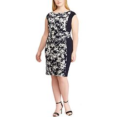 Plus Size Chaps Floral Colorblock Sheath Dress