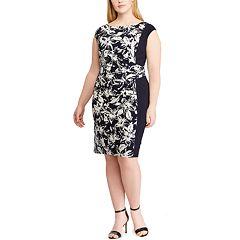 Plus Size Chaps Floral Colorblock Sheath Dress