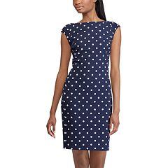 Women's Chaps Polka-Dot Sheath Dress