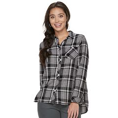Petite SONOMA Goods for Life™ High-Low Plaid Shirt