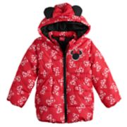 Disney's Minnie Mouse Toddler Girl Heavyweight Bow Hooded Puffer Jacket