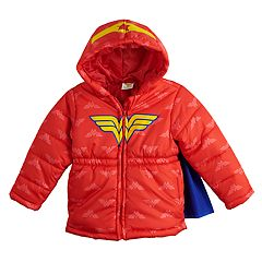 dd547af0e Toddler Girl DC Comics Wonder Woman Heavyweight Hooded Puffer Jacket.  clearance