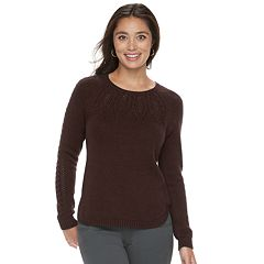 Petite SONOMA Goods for Life™ Cable Yoke Crewneck Sweater