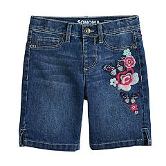 Girls 4-12 SONOMA Goods for Life™ Embroidered Flower Denim Shorts
