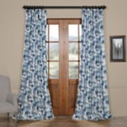 EFF Blackout 1-Panel Watercolor Printed Faux Silk Taffeta Curtain
