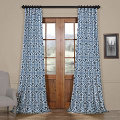 EFF Blackout 1-Panel Iron Gate Printed Faux Silk Taffeta Curtain