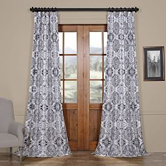 EFF Blackout 1-Panel Delft Printed Faux Silk Taffeta Curtain