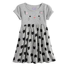 Toddler Girl Jumping Beans® 3D Ear Cat Graphic & Pattern Dress