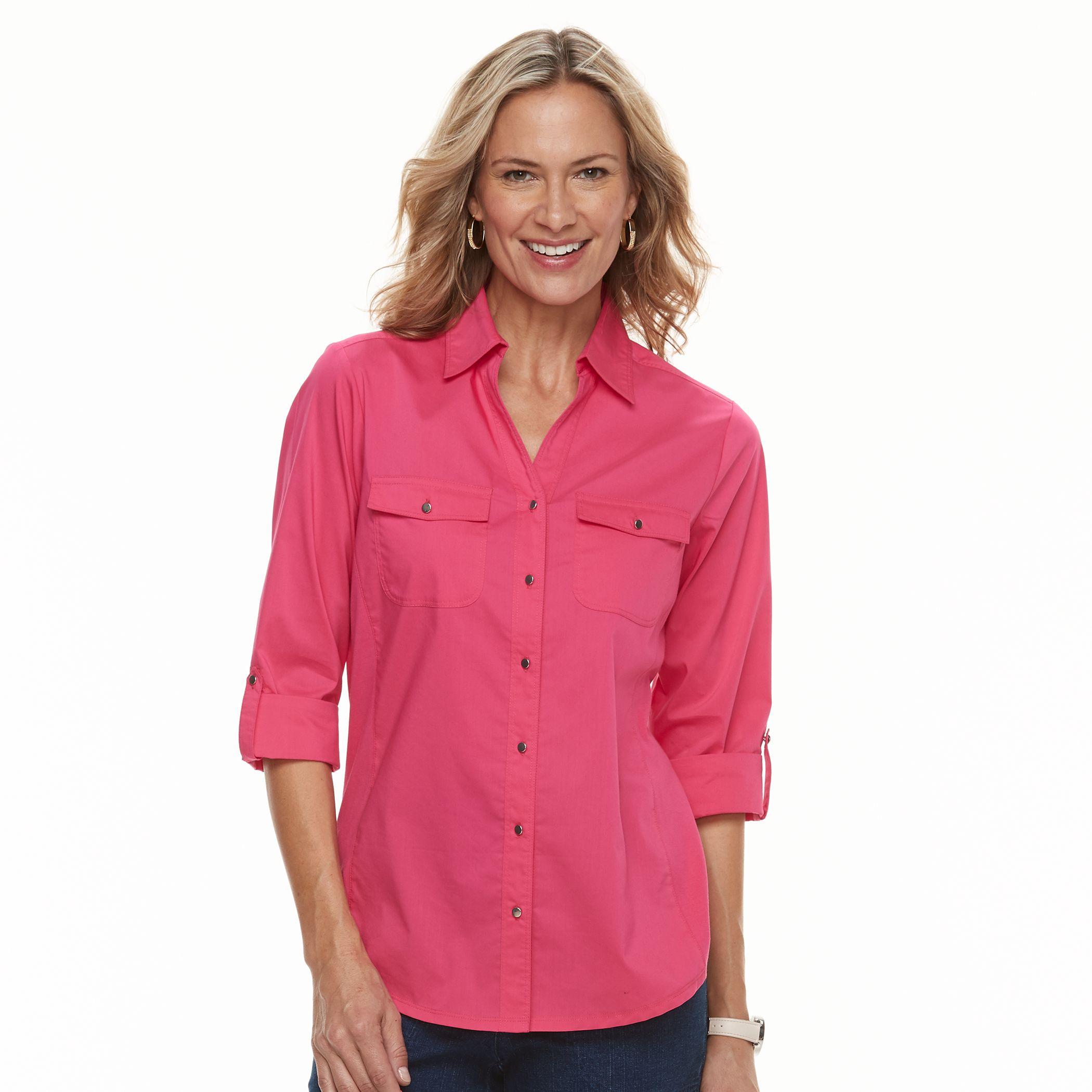 Women\u0027s Croft \u0026 Barrow� Knit-to-Fit Roll-Tab Shirt