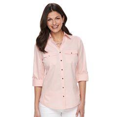Women's Croft & Barrow® Knit-to-Fit Roll-Tab Shirt