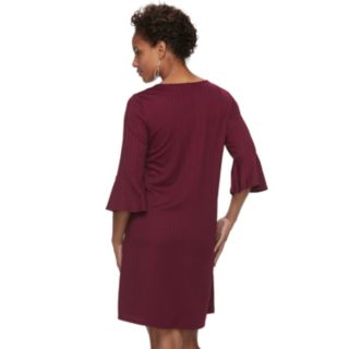 Women's Apt. 9® Ribbed Bell Sleeve A-Line Dress