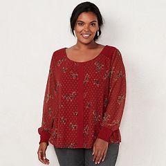 Plus Size LC Lauren Conrad Chiffon Sleeve Top