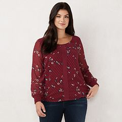 Plus Size LC Lauren Conrad Chiffon Sleeve Top