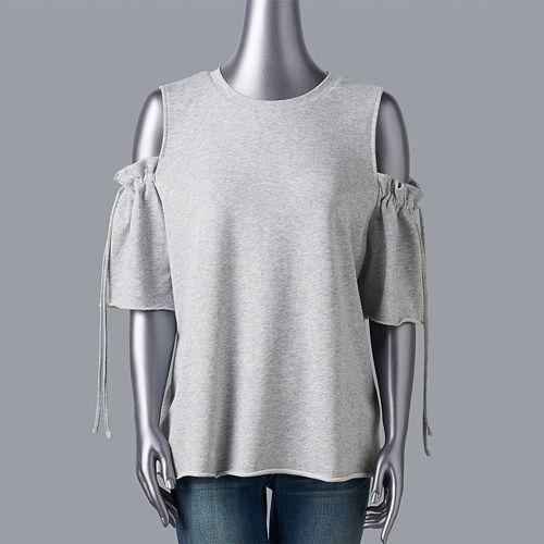 Plus Size LC Lauren Conrad Weekend Cold-Shoulder Ruffle Sweatshirt