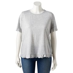Plus Size LC Lauren Conrad Weekend Ruffle-Trim Tee