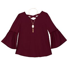 Girls 7-16 IZ Amy Byer Bell Sleeve Woven Top with Necklace