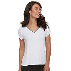 Women's Jennifer Lopez Embellished V-Neck Tee