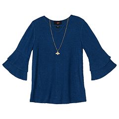 Girls 7-16 IZ Amy Byer Fuzzy Bell Sleeve Top with Necklace