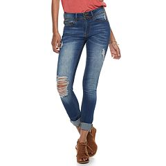 Juniors' Indigo Rein Mid-Rise Destructed Roll-Cuff Ankle Jeans